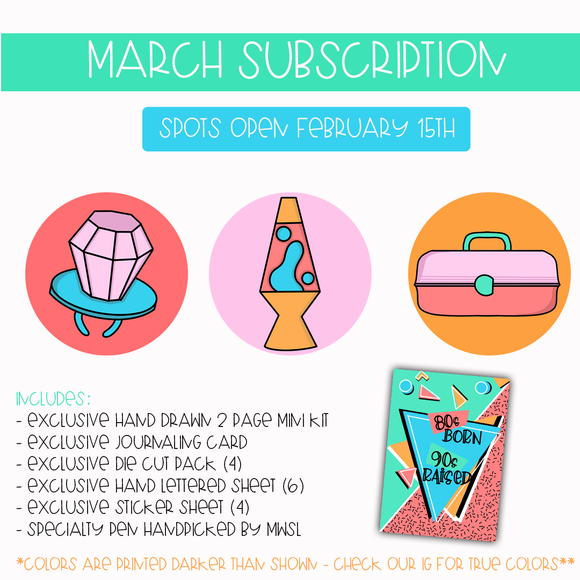 MARCH SUBSCRIPTION HAND DRAWN PRE-ORDER