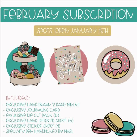 FEBRUARY SUBSCRIPTION HAND DRAWN - PRE-ORDER-