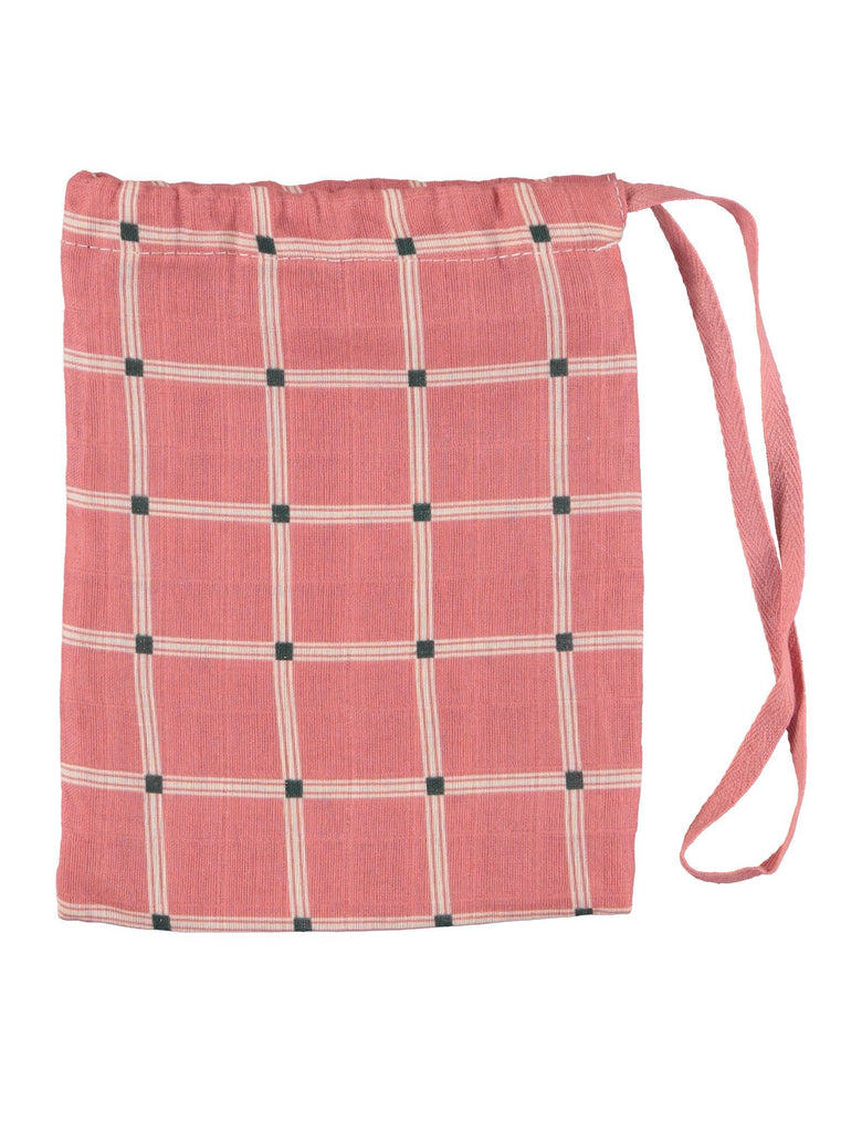 Rose Checked Swaddle In Bag