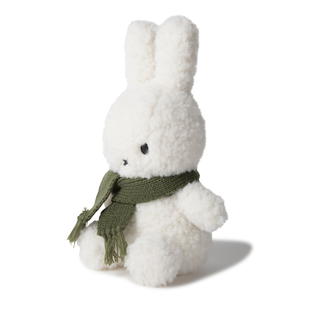 Miffy Soft Toy - Cream Fluffy With Green Scarf