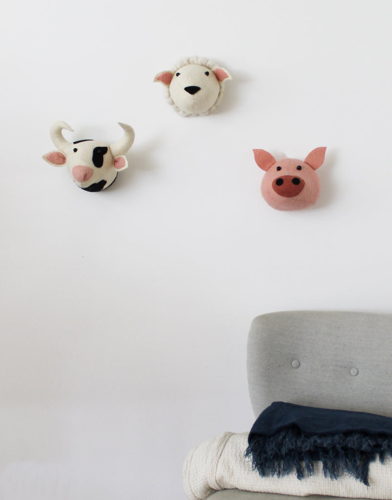 Cow Felt Animal Head Wall Mounted (Mini) | Fiona Walker England - Just Add Milk
