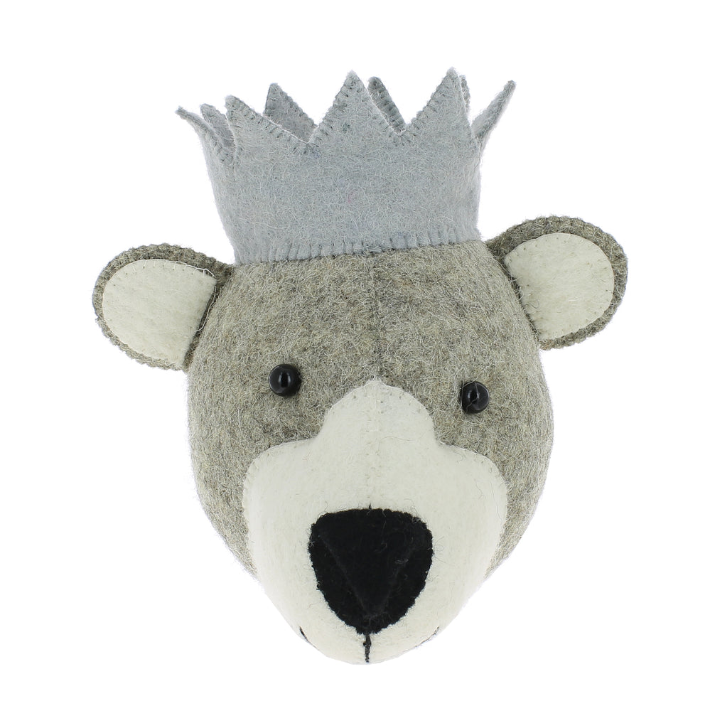 Felt Baby Bear Head with crown Wall Hanging (mini) | Fiona Walker England - Just Add Milk
