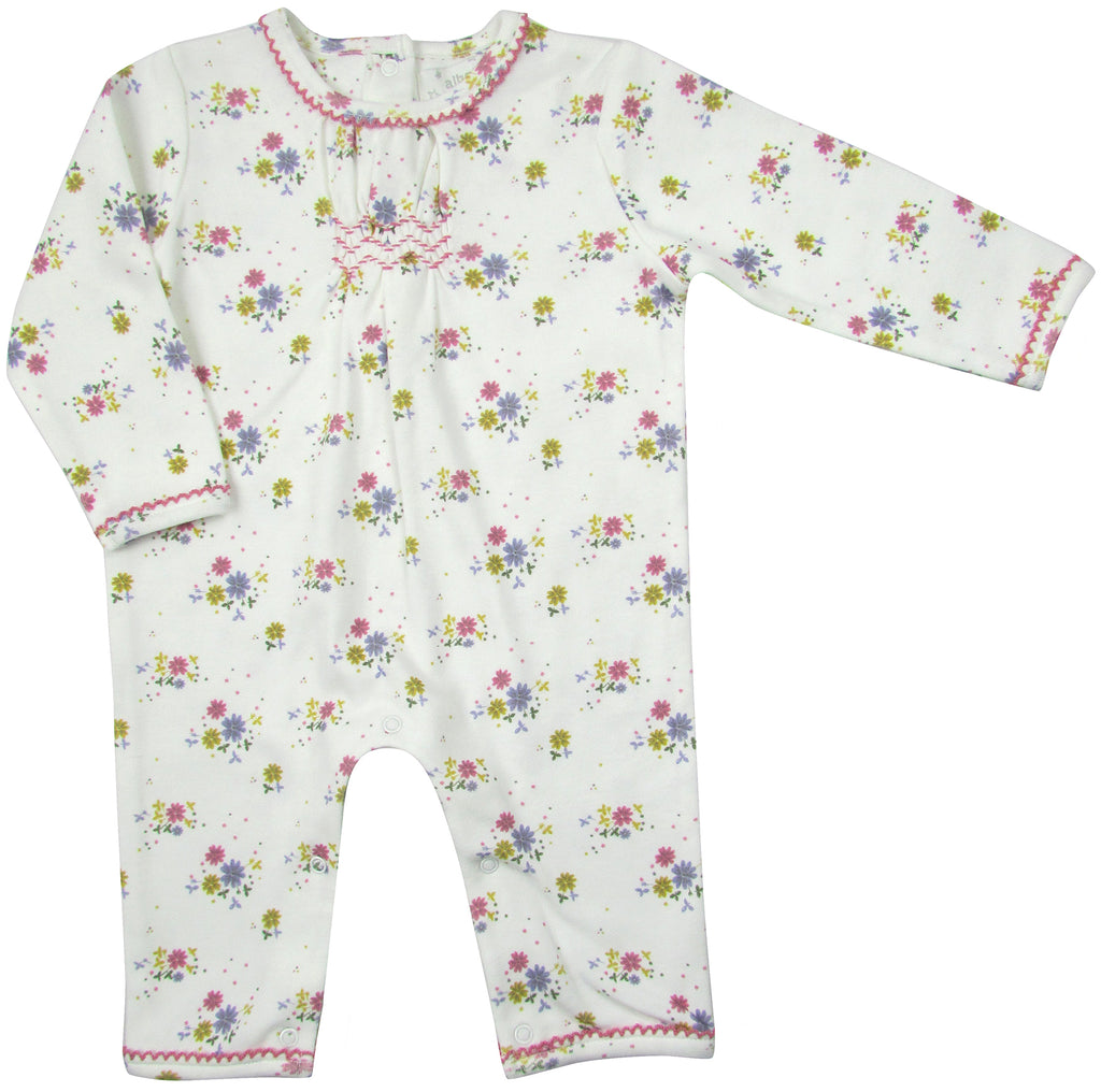 Dancing Flower Smocked Babygrow (3-6m & 6-12m) | Albetta - Just Add Milk