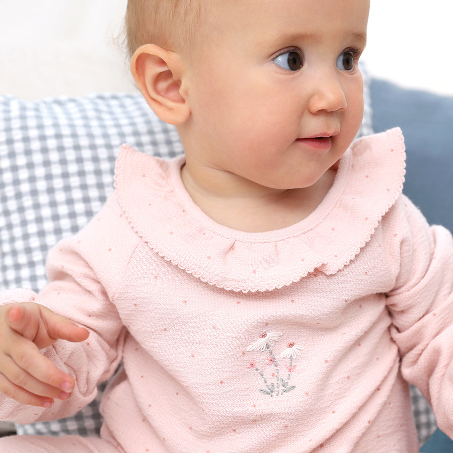 Light Pink Polka Dots Embroidered Babygrow | Albetta