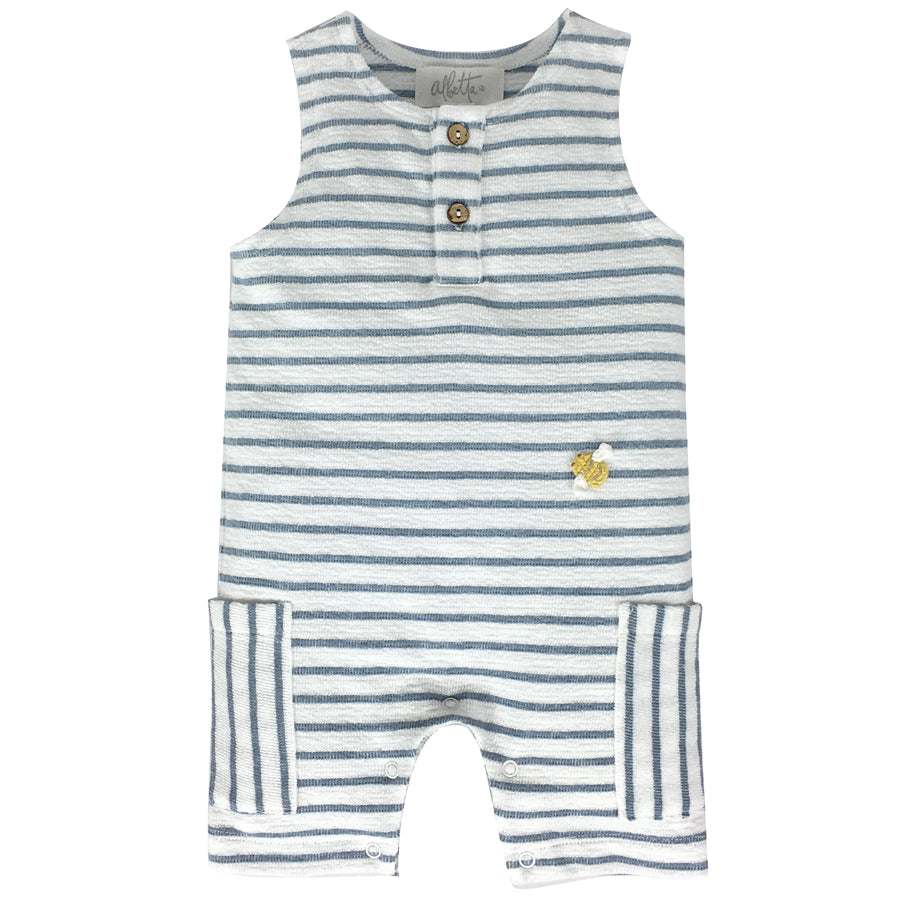 Crochet Mini Bee Blue Stripe Romper | Albetta