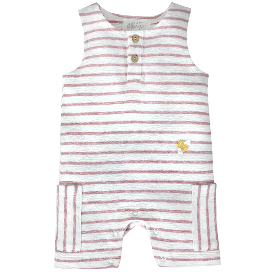 Crochet Mini Bee Pink Stripe Romper | Albetta