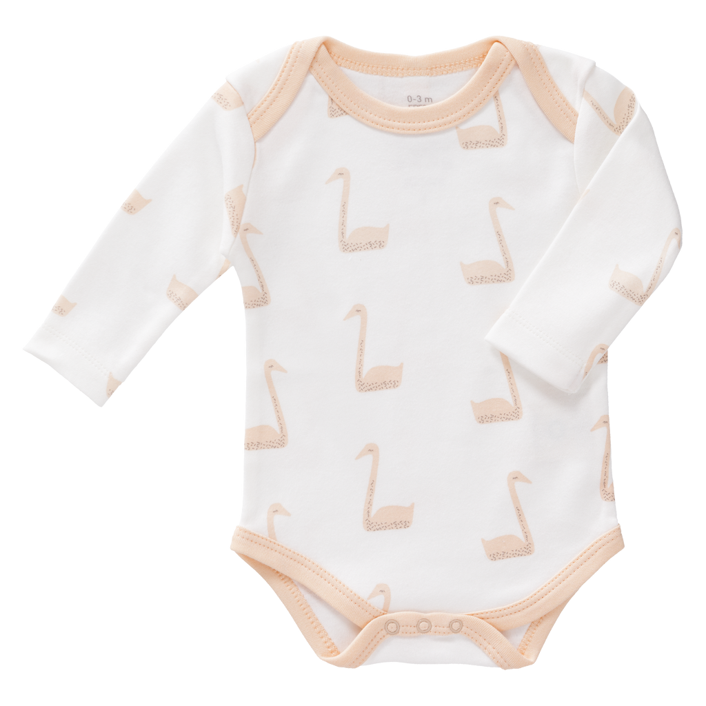 Organic Cotton Bodysuit in Pink Swan Print: Fresk - Just Add Milk