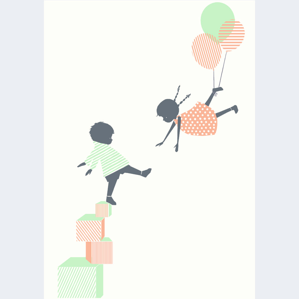 ' LET'S PLAY ' A4 Mounted Screen Print by Little Lellow - Just Add Milk