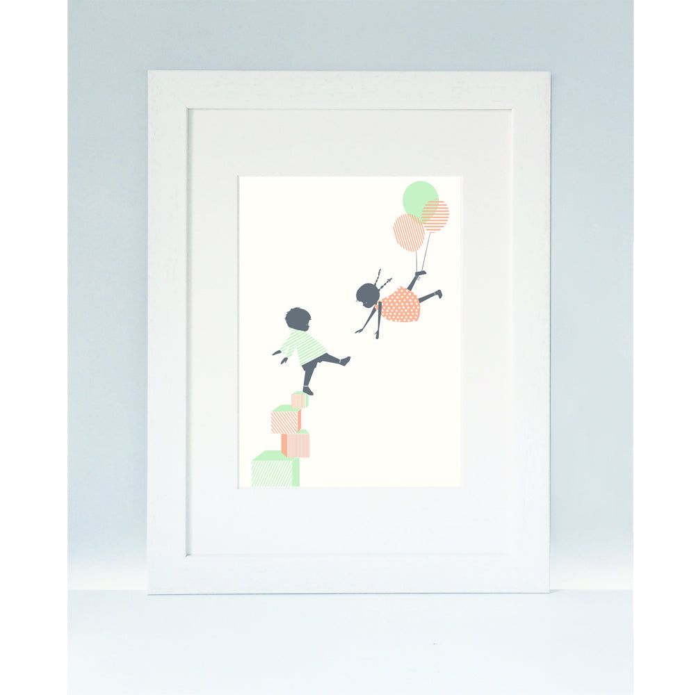 ' LETS PLAY ' A4 Mounted Screen Print by Little Lellow