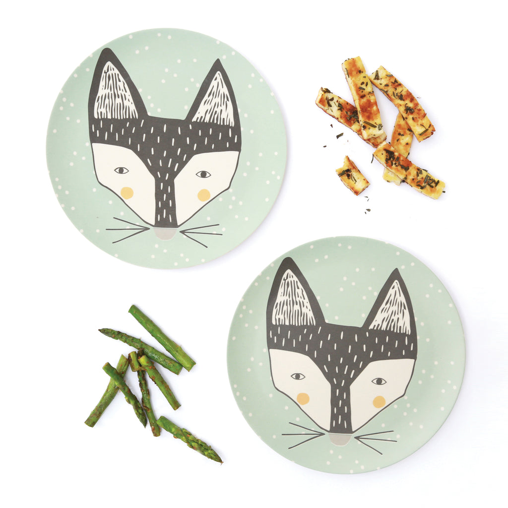 Fox large bamboo plates, set of two
