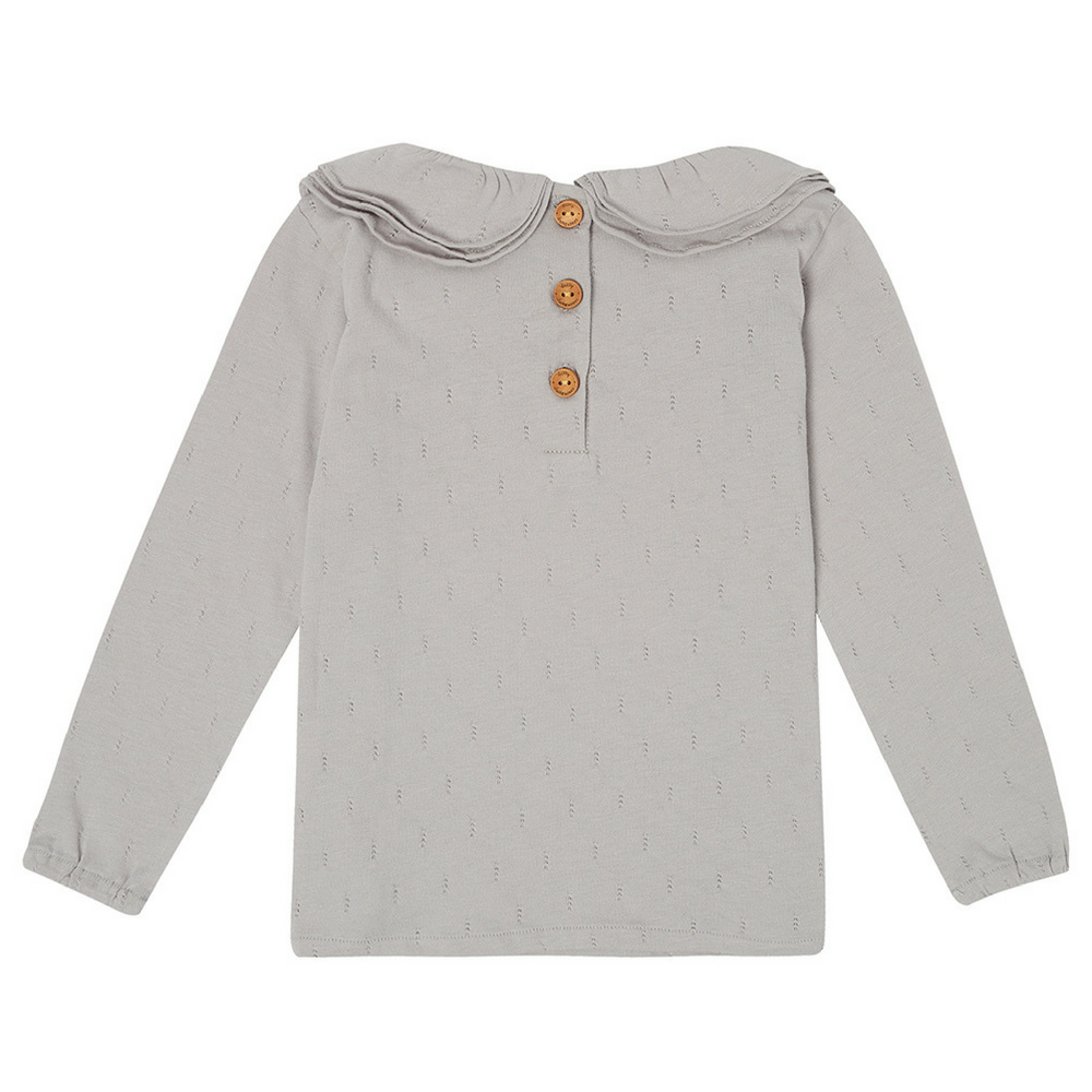 Margaux Ruffle Neck Top - Dove Grey  | Dotty Dungarees - Just Add Milk