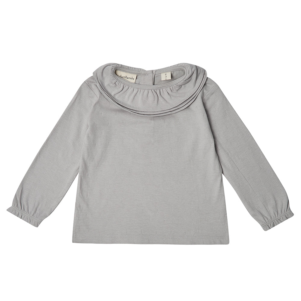 Margaux Ruffle Neck Top - Dove Grey 6-12m, 12-18m, 2-3y | Dotty Dungarees - Just Add Milk
