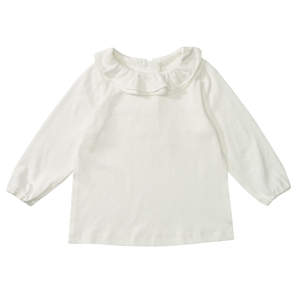 White Margaux Ruffle Neck Top 3-6m | Dotty Dungarees - Just Add Milk