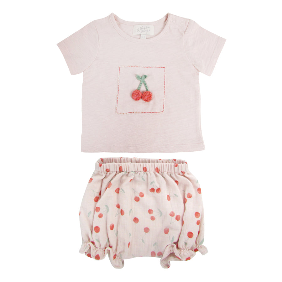 Crochet Cherry T & Shorts Set | Albetta - Just Add Milk