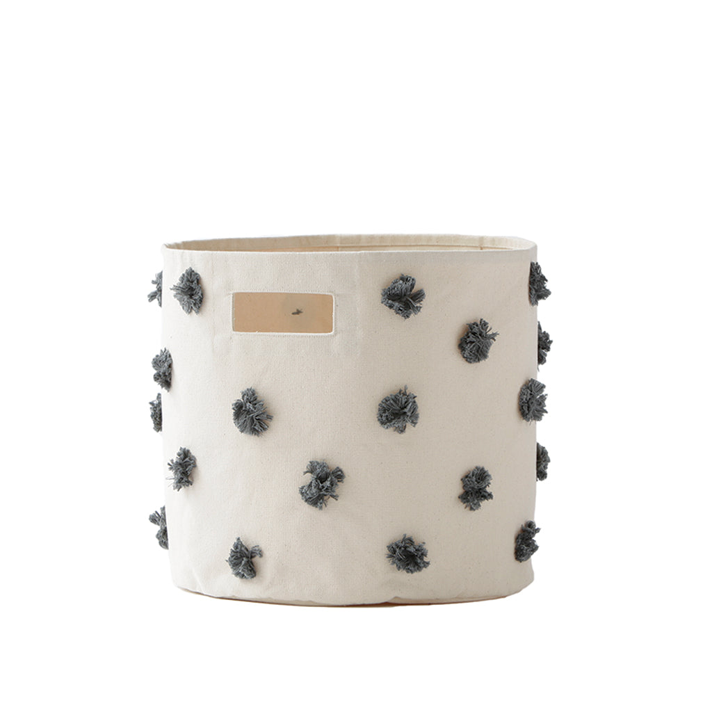 Pom Pom Canvas Storage Bin - Charcoal | Pehr