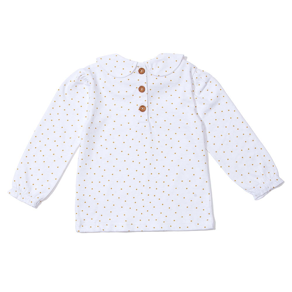 Peter Pan Collar Top - Gold Spot  | Dotty Dungarees - Just Add Milk