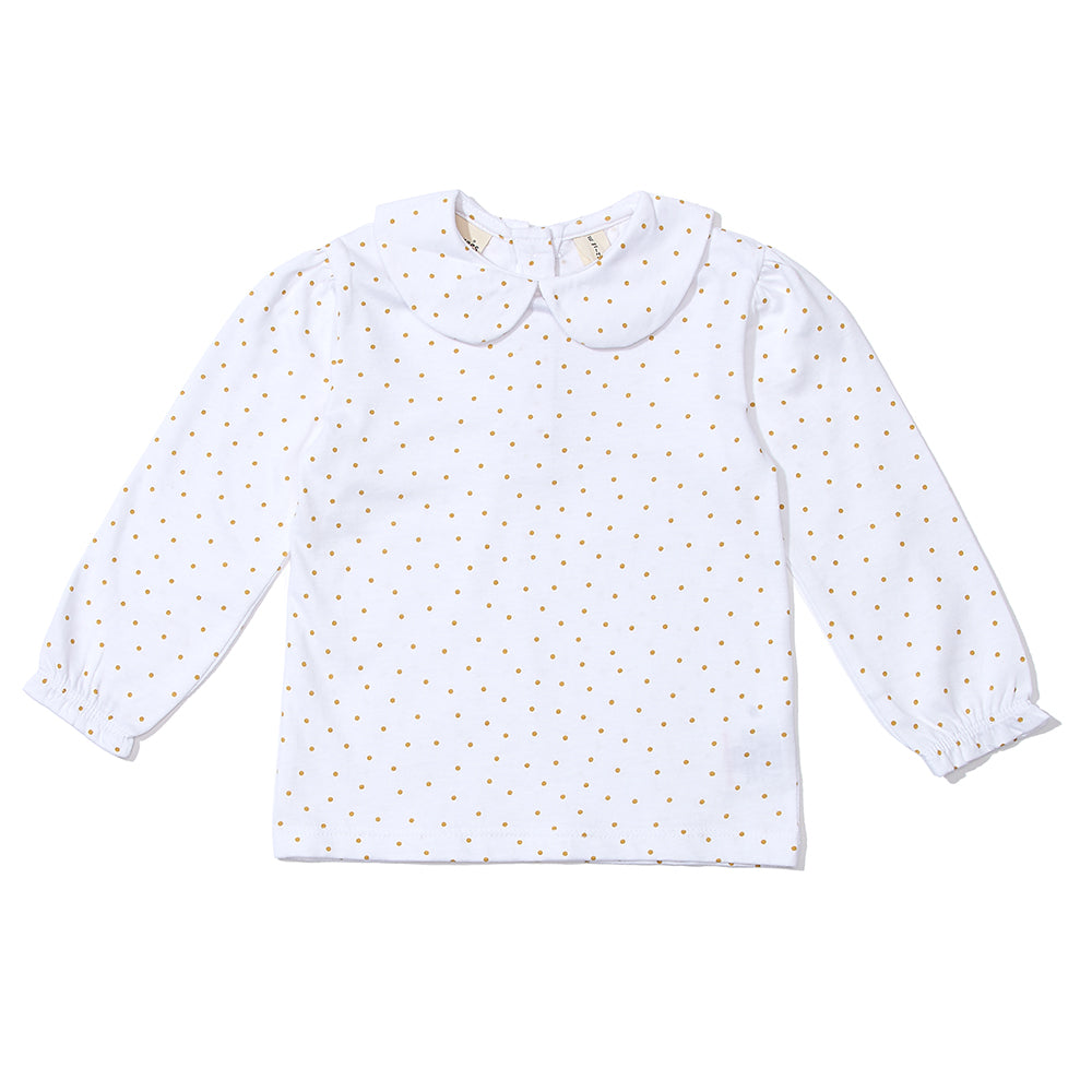 Peter Pan Collar Top - Gold Spot 6-12m up to 4-5y available | Dotty Dungarees - Just Add Milk