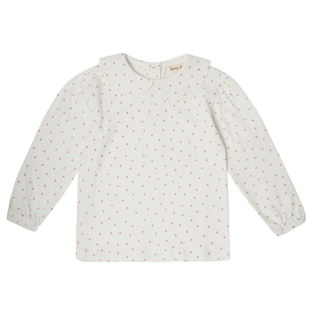 Peter Pan Collar Top - Pink Spot 6-12m | Dotty Dungarees - Just Add Milk