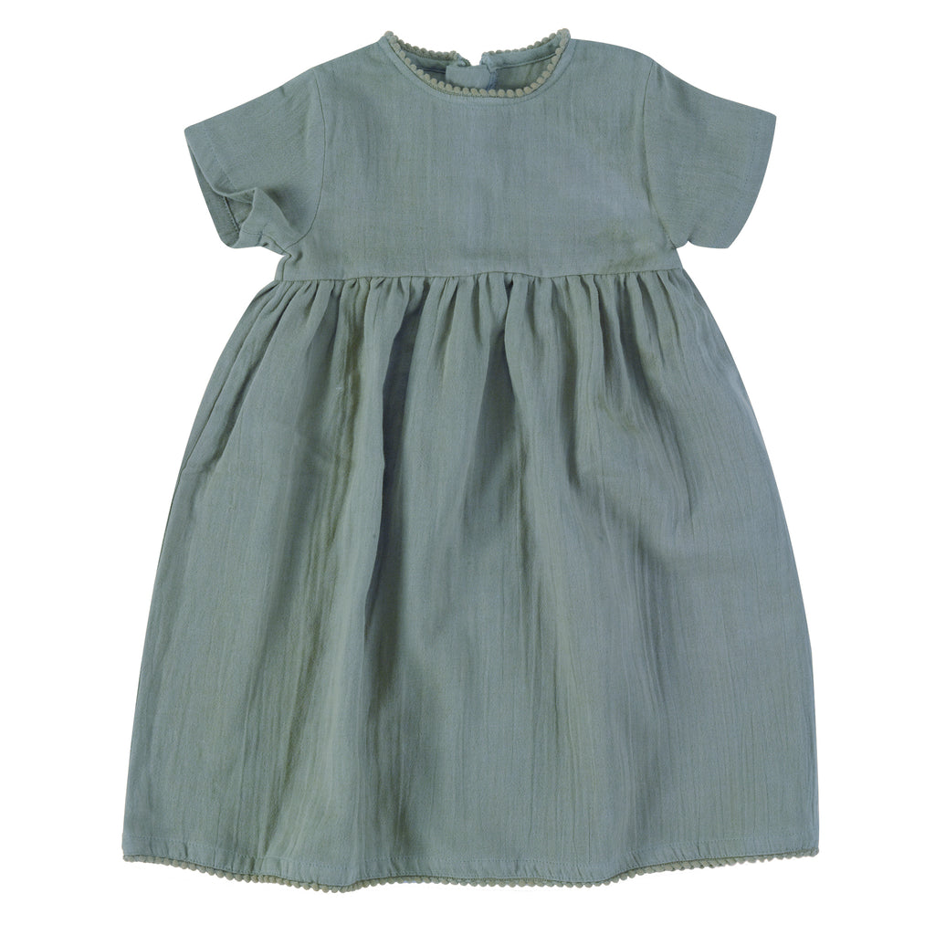 Pretty Muslin Dress- Turquoise | Pigeon Organics - Just Add Milk