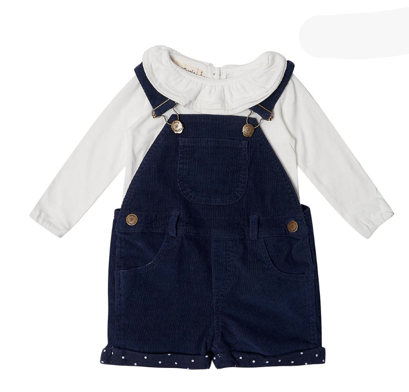 Short Corduroy Dungarees (various colours & sizes) - Dotty Dungarees - Just Add Milk