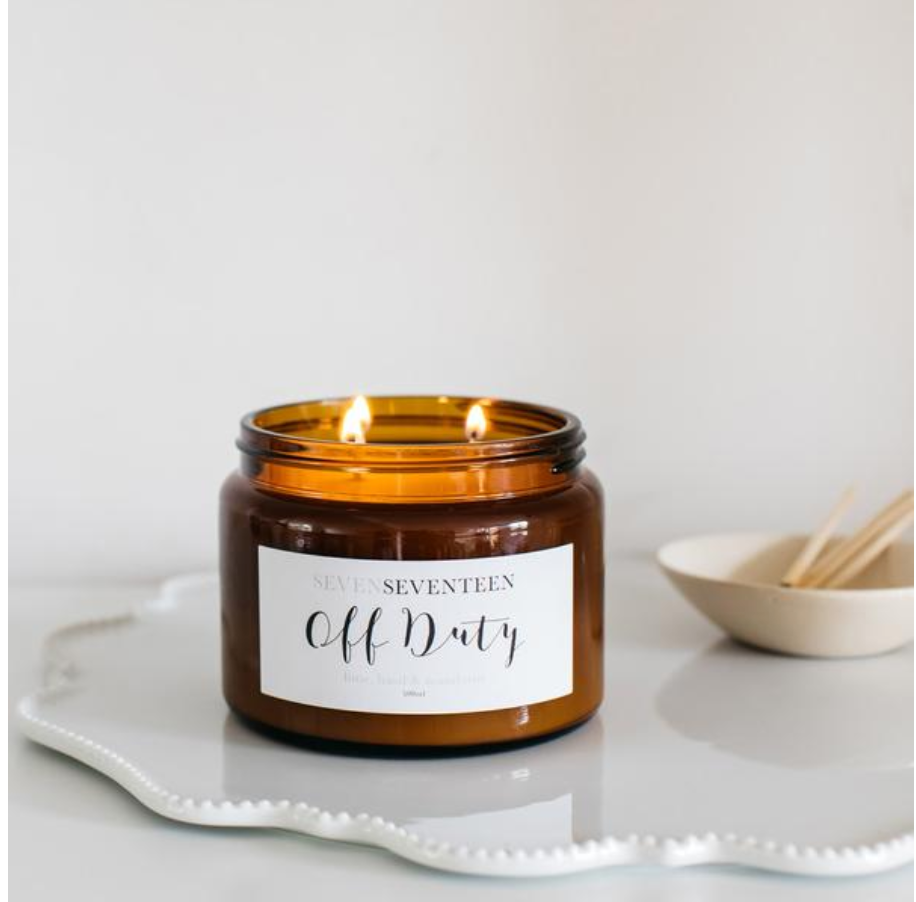 OFF DUTY -  Lime Basil & Mandarin Candle (500ml): SevenSeventeen - Just Add Milk