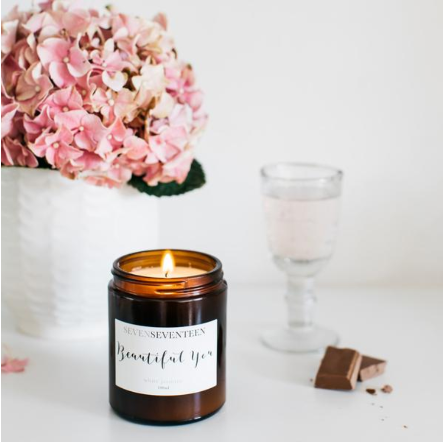 BEAUTIFUL YOU - White Jasmine Candle (180ml): SevenSeventeen - Just Add Milk
