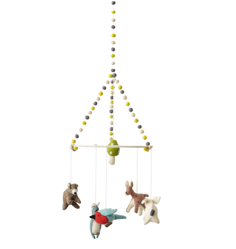 Felted-Wool Woodland Animal Nursery Mobile Petit Pehr