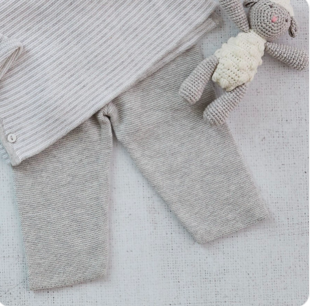 Grey Marl Knit Trousers- Cashmere Blend, 0-3 & 3-6m | Albetta - Just Add Milk