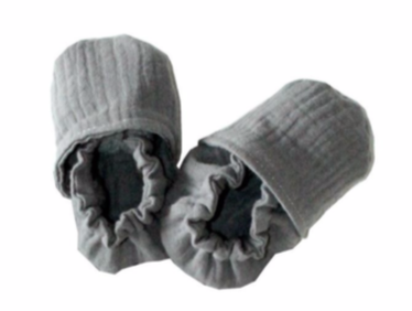Double Cotton Gauze, Grey Baby Slippers
