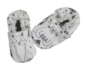 Scandi Bear Cotton & Velour Baby Slippers: from Chouchouette