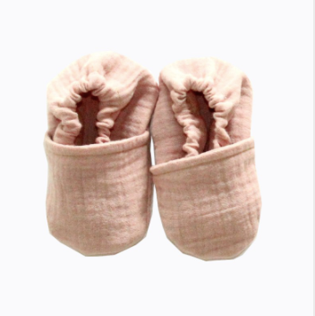 French Cotton Baby Slippers - Delicate Rose Pink