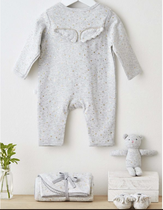 Gold Star Angel Wings Babygrow - 3-6m | Albetta - Just Add Milk