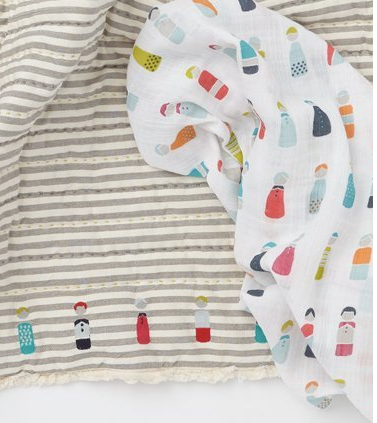 Little Peeps design- 100% Cotton Muslin Swaddle: Pehr