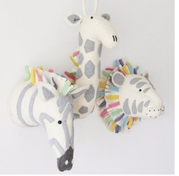 Pastel Safari Zebra Felt Animal Head- Wall Mounted: Fiona Walker England