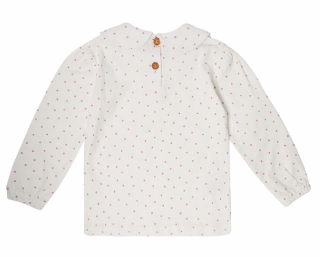Peter Pan Collar Top -  Pink Spot: Dotty Dungarees