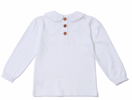 White Peter Pan Collar Top 6-12m  | Dotty Dungarees - Just Add Milk