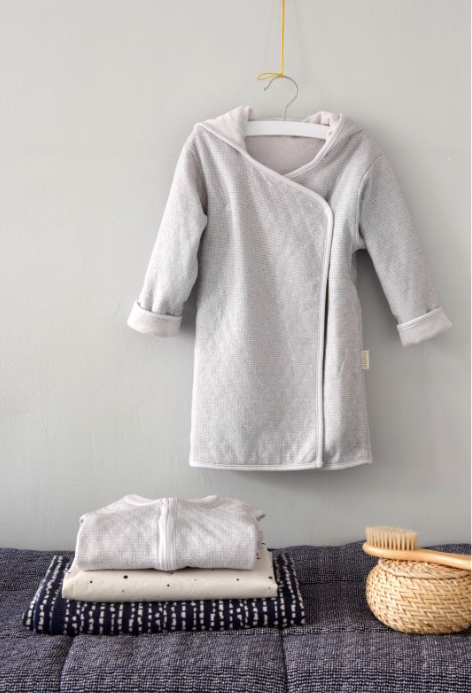 Luxury Organic Cotton Bath Robe- sand / dark grey (2-4 years) - Just Add Milk