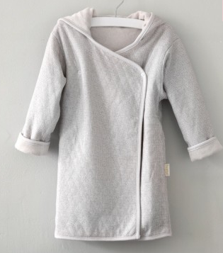 Luxury Organic Cotton Bath Robe- sand / dark grey (2-4 years)