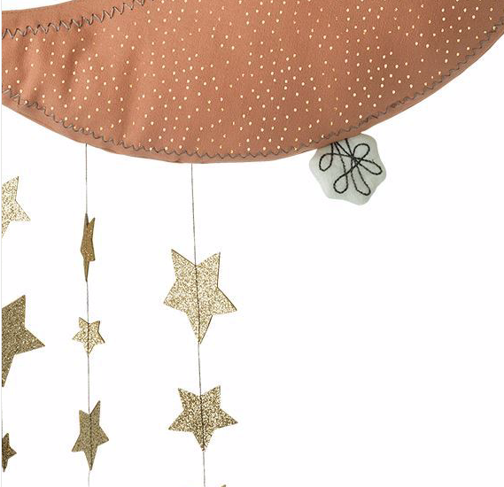 Rose Pink Sparkle Moon and Stars - Wall Mobile: Picca Loulou