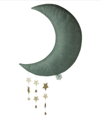 Grey Sparkle Moon And Stars - Wall Mobile: Picca Loulou