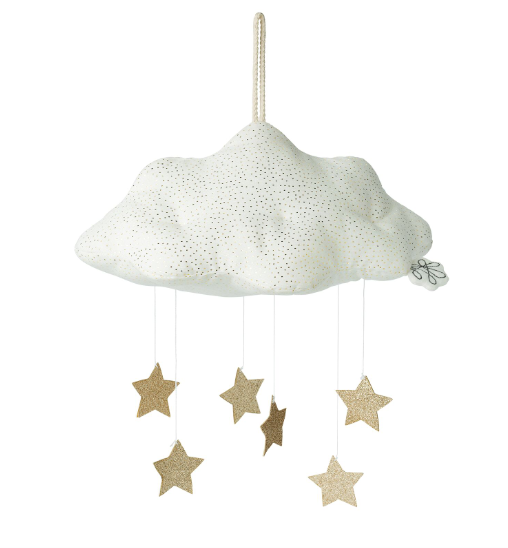 White Sparkly Cloud Mobile With Glitter Gold Stars: Picca Loulou