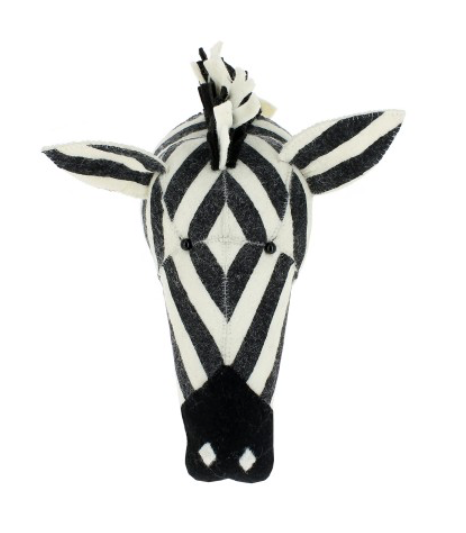 Zebra Felt Wall Mounted Head - Mini: Fiona Walker England
