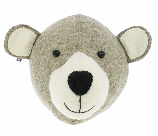 Mummy Bear Felt Animal Head - Wall Mounted:  Fiona Walker England