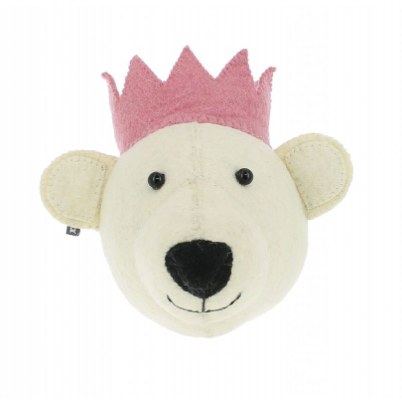 Baby Bear Head With Pink Crown Wall Mounted (mini) | Fiona Walker England - Just Add Milk