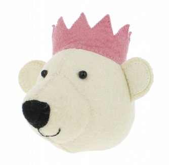 Baby Bear Head With Pink Crown - Wall Mounted:  Fiona Walker England