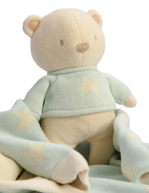 Soft Knitted Teddy Bear - Duck Egg & Cream | Ragtales - Just Add Milk