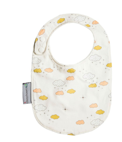 Towelling Baby Bib- Cloud Print - Just Add Milk