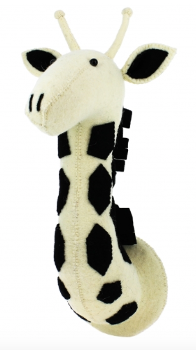 Black and White Safari Giraffe Head - Wall Mounted (Semi): Fiona Walker England