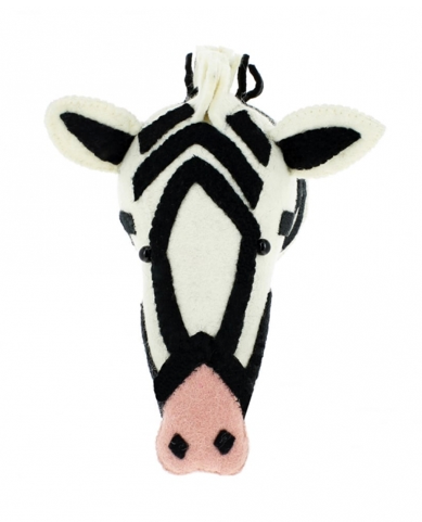 Zebra Animal Head With Pink Nose - Semi Size: Fiona Walker England