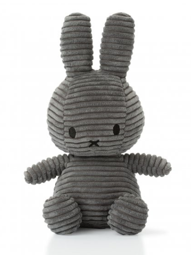 Miffy Soft Toy -  Grey Corduroy - Just Add Milk